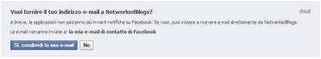 NetworkedBlog vuole la mia email su Facebook