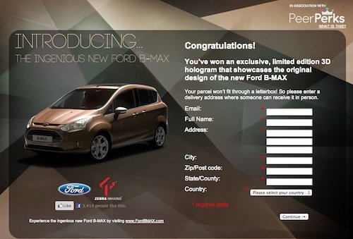 La schermata del minisito ford B-Max/peerindex