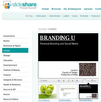 Personal Branding con i Social Media sulla HomePage Career di Slideshare